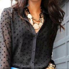 Black sheer polka-dot shirt