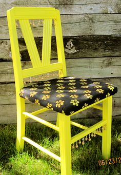 Yellow kitchen chair with batik fabric and wood/shell bead trim.  SOLD