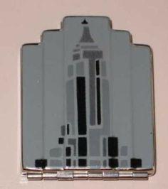 WOW!! 1930 Volupte unused rare deco enamel skyscraper compact in box!