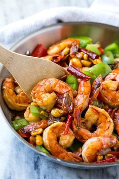 This recipe for Kung Pao shrimp is chock full of veggies and peanuts and is cooked in a savory yet spicy sauce. Make your own take out in just 20 minutes! Best Shrimp Recipes, Grilled Shrimp Recipes, Seafood Recipes, Asian Recipes, Chicken Recipes, Healthy Recipes, Oriental Recipes, Indonesian Recipes, Grilled Fish