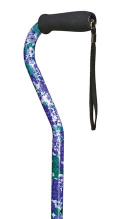 Amazon.com: Duro-Med Aluminum Adjustable Cane with Offset Handle, Purple Flower: Health & Personal Care
