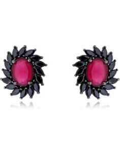 brinco zirconias pretas e vermelhas semijoias da moda