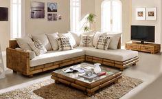 Mesas de Centro de Bambu : Modelo TSU Cuadrada Bamboo Sofa, Bamboo Furniture, Home Decor Furniture, Pallet Furniture, Furniture Design, Wooden Sofa Set Designs, Bamboo House Design, Townhouse Interior, Living Room Sofa Design