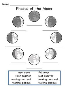 Science worksheets for kids moon phases ideas for 2019 Social Studies Worksheets, Science Worksheets, Worksheets For Kids, Science Lessons, Science Projects, Science Fun, Art Projects, 1st Grade Science, Kindergarten Science