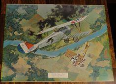 Vintage JB Deneen World War I Eagles Series I Airplane Print Nieuport 27 Guynemer Rumpler - - a collection of framed vintage airplane prints would be neat