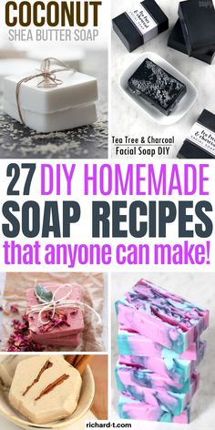 27 DIY Homemade soap recipes you need to make! These soap recipes smell amazing and look fantastic! 27 DIY Homemade soap recipes you need to make! These soap recipes smell amazing and look fantastic! Handmade Soap Recipes, Soap Making Recipes, Handmade Soaps, Diy Soaps, Coconut Soap, Shea Butter Soap, Diy Soap Easy, Easy Diy, Diy Soap Tips