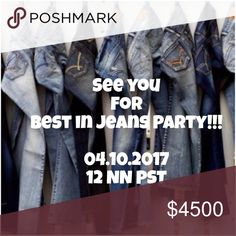 Thank You For Joining!!! Thanks so much for making our Best in Jeans Party a success! I wish I could give everyone a HP! There's a couple more parties I'm hosting between my closets too so I'll have more opportunities to give HPs then. Cheers to posh love! 🥂💐🎉💗 Jeans