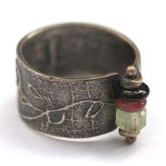 """Eric Silva: Oxidized Silver """"Branded"""" Ring with Various Gemstone Beads"""