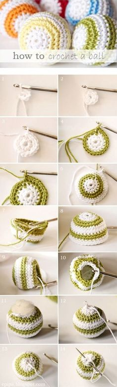 You will need:    Cotton Yarn  (Yarn is also, but the disadvantage has to be more elastic,   and we want to spherical balls.)  Crochet hook 3.0  Wool needle for sewing    Abbreviations:   LM - chain stitch  KM - chain stitch  sc - single crochet  M - mesh    How it works: