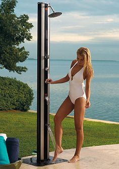 Solar outdoor showers make cleaning off after the beach super easy!