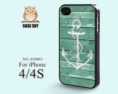 iPhone 4 Case, iPhone 4S Case, Anchor, Wood, Green, iPhone Case, Plastic Phone Cases, Case for iPhone -410063 on Etsy, | http://phonecasecollections.blogspot.com