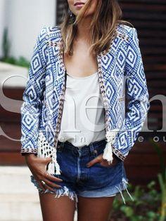Blue+Collarless+Tribal+Embroidered+Crochet+Hem+Coat+29.99