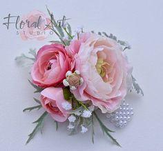 Wedding Corsage, Pink Ranunculus Corsage, Silk Flower Corsage, Wedding Accessories, Blush Ranunculus, Corsages, Wrist Corsage, Prom Corsages
