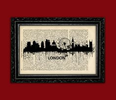 London England UK Silhouette World Cities Skylines Art Print - Building Europe Silhouettes Book Art Poster Dorm Room Wall Dictionary Print