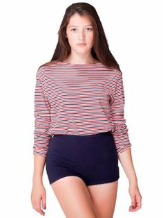 American Apparel Cotton Ottoman High-waist Hot Short Small Navy