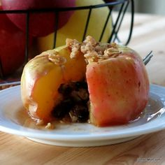 """Microwave """"baked"""" apples topped with granola - reminds me of apple pie, but only takes 3 minutes to cook!"""