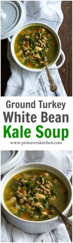 Ground Turkey White Bean Kale Soup - This Ground Turkey White Bean Kale Soup is incredibly delicious, comforting, filling and perfect for the busy weeknights because it's ready in less than 30 minutes.