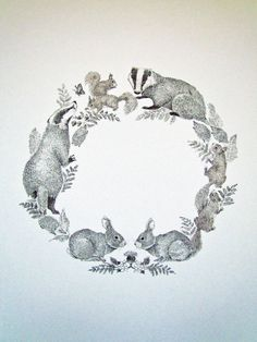 British Woodland Animal Wreath Print on A4