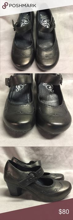 Dansko Black Leather Stapled Mary Jane Sz 38 Dansko Nevin Black Leather Stapled Buckle Mary Jane Chunk Heel Shoes  Womens Sz EUR 38 US 7.5-8  They look hardly worn.  Minor scuffs. Please see pics to see if they will work for you Danskin Shoes Mules & Clogs
