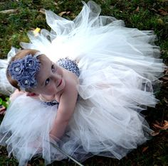 Flower girl dress Ivory and gray/silver
