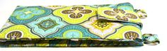 Women's Wallet Organizer with Card Slots - 2 in 1 - Blue, Green and Yellow Morrocan - pinned by pin4etsy.com #handmade #fashion #style #purse #handbag #love #girls #girl #etsyshop #bags #bag #wallet #wallets