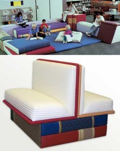 book themed furniture from Big Cozy Books. includes chairs, stools, doorway entrances, wall art and accessories resembling a giant book. Book Furniture, Library Furniture, Furniture Design, Ideas Hogar, Library Books, Library Ideas, School Library Design, Library Displays, Learning Spaces