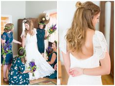 Bride with her bridesmaids showing off her dress
