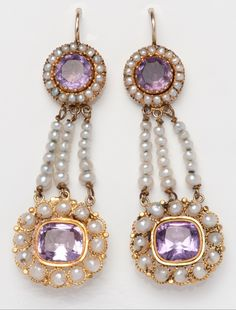 A pair of antique gold, amethyst and pearl ear pendants, circa 1800. #antique