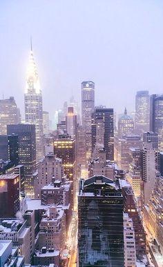 New York City Skyline in the Snow, U.S | by Vivienne Gucwa