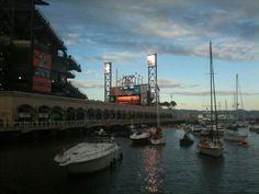 Boats crowd McCovey Cove for a San Francisco Giants playoff game