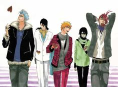 Bleach: Grimmjow Jeagerjaques, Byakuya Kuchiki, Kurosaki Ichigo, Ulquiorra Schiffer and Abarai Renji Bleach Manga, Kon Bleach, Me Anime, Anime Guys, Manga Anime, Anime Art, Shinigami, Bleach Characters, Anime Characters