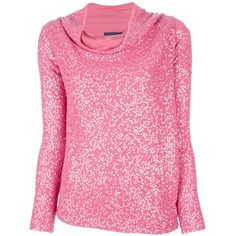 DONNA KARAN sequined sweater ($1,250) ❤ liked on Polyvore featuring tops, sweaters, shirts, pink, blusas, long sleeve sweater, long sleeve sequin shirt, shirt tops, pink long sleeve shirt and shirt sweater