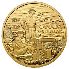 Pure Gold Coin - Canadian Machine Gunner in Training - Anniversary of the Declaration of the Second World War - Mintage: 200 Canadian Gold Coins, Canadian Things, Valuable Coins, Gold And Silver Coins, Rare Coins, Coin Collecting, World War Two, Two By Two, Canadian Army