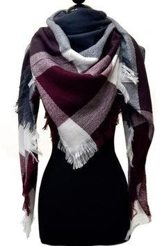 Blanket Scarf in Burgundy $23