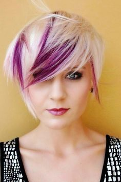 Pixie haircut with purple plum highlights