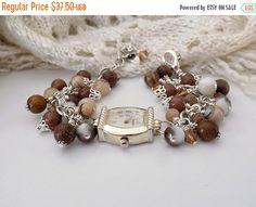 Victorian Style Watch Bracelet - with Gemstone, Jade, Wood, Crystal Brown Beads by TreasuresofJewels on Etsy