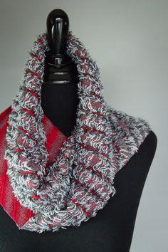 Handwoven, Grey & Red, Unique, Reversible Eyelash Scarf.