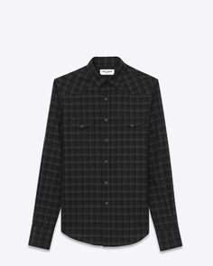 Saint Laurent Signature Western Shirt in Grey and Black Wool Plaid