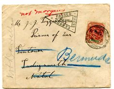 """BERMUDA (BOER WAR) 1901 censored envelope franked overprinted 1d adhesive tied """"LADYSMITH"""" c.d.s. 21 SP 1901 Addressed to POW Ladysmith redirected to Bermuda manuscript """"NOT MORGANS"""" in red and """"NOT DARRELLS"""" in pencil."""