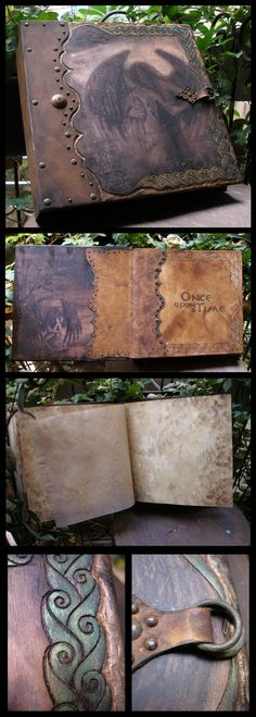 Once upon a Time photo album. I made this album to look like somebody found it in a wet full of moisture basement after 100 years. Images at the front and inside covers are paintings of mine made a...
