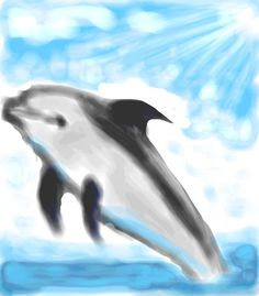 how to draw a jumping dolphin