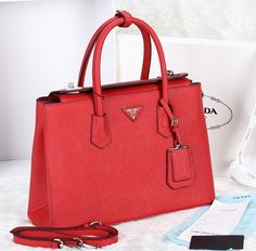 2017 Prada Twin Saffiano Cuir Tote Red Bags On