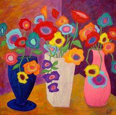 Modern Folk Art FLOWERS in Vases Original  Painting J by jblake, $48.00...simple,,,but the love the colors