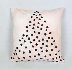 Blush pink tie-dye cushion with black spot triangle print. Handmade.
