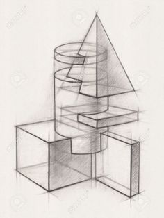 Picture of Illustration of Geometric Shapes It is a Pencil Drawing stock photo, images and stock photography. Composition Drawing, Form Drawing, Object Drawing, Perspective Drawing Lessons, Perspective Art, Geometric Designs, Geometric Art, Geometric Shapes Drawing, Pencil Drawings