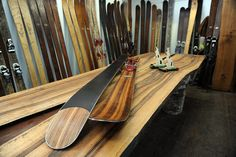 Rabbit on the Roof - bespoke hand-carved skis from Chamonix Ski And Snowboard, Snowboarding, Skiing, Ski Report, Sup Boards, Longboards, Building Ideas, Skateboards, Custom Wood