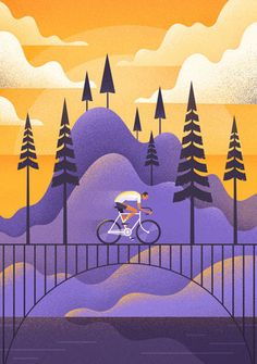 Illustration design with grain texture. showcase and discover creative work on the world's leading online platform for creative industries. Abstract Illustration, Flat Design Illustration, Landscape Illustration, Graphic Illustration, Graphic Art, Illustration Styles, Bicycle Illustration, Mountain Illustration, Photography Illustration