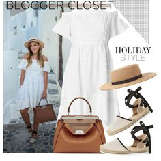 How To Wear Blogger Closet White dress&Espadrille sandals&Satchel bag&Boater hat Outfit Idea 2017 - Fashion Trends Ready To Wear For Plus Size, Curvy Women Over 20, 30, 40, 50
