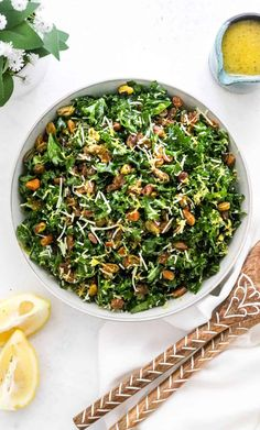 This is a simple, easy kale salad recipe that is tangy, crunchy, and full of incredible lemon flavor. Easy to make-ahead and ready in less than 10 minutes! #kalesalad #lemondressing #kalerecipes #kale #healthysaladrecipes Gf Recipes, Lemon Recipes, Vegetarian Recipes, Healthy Recipes, Cooking Recipes, Healthy Side Dishes, Healthy Foods To Eat, Healthy Eating, Side Dishes