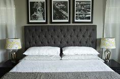 Tête de lit matelassée en noir